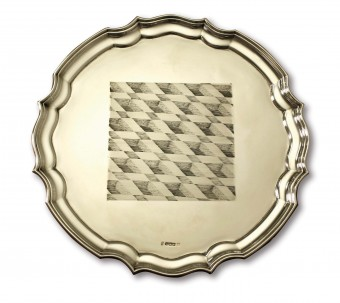 #venice by Max Warren, 2014, hand engraved antique sterling silver salver, 30.5 x 30.5 x 2.5 cms