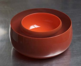 Tora Urup, Bowl, 2012, blown and encased with over and underlay coloured glass layers, cut and polished,