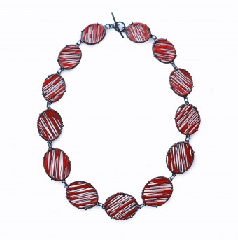 Red enamel necklace by Stacey Bentley